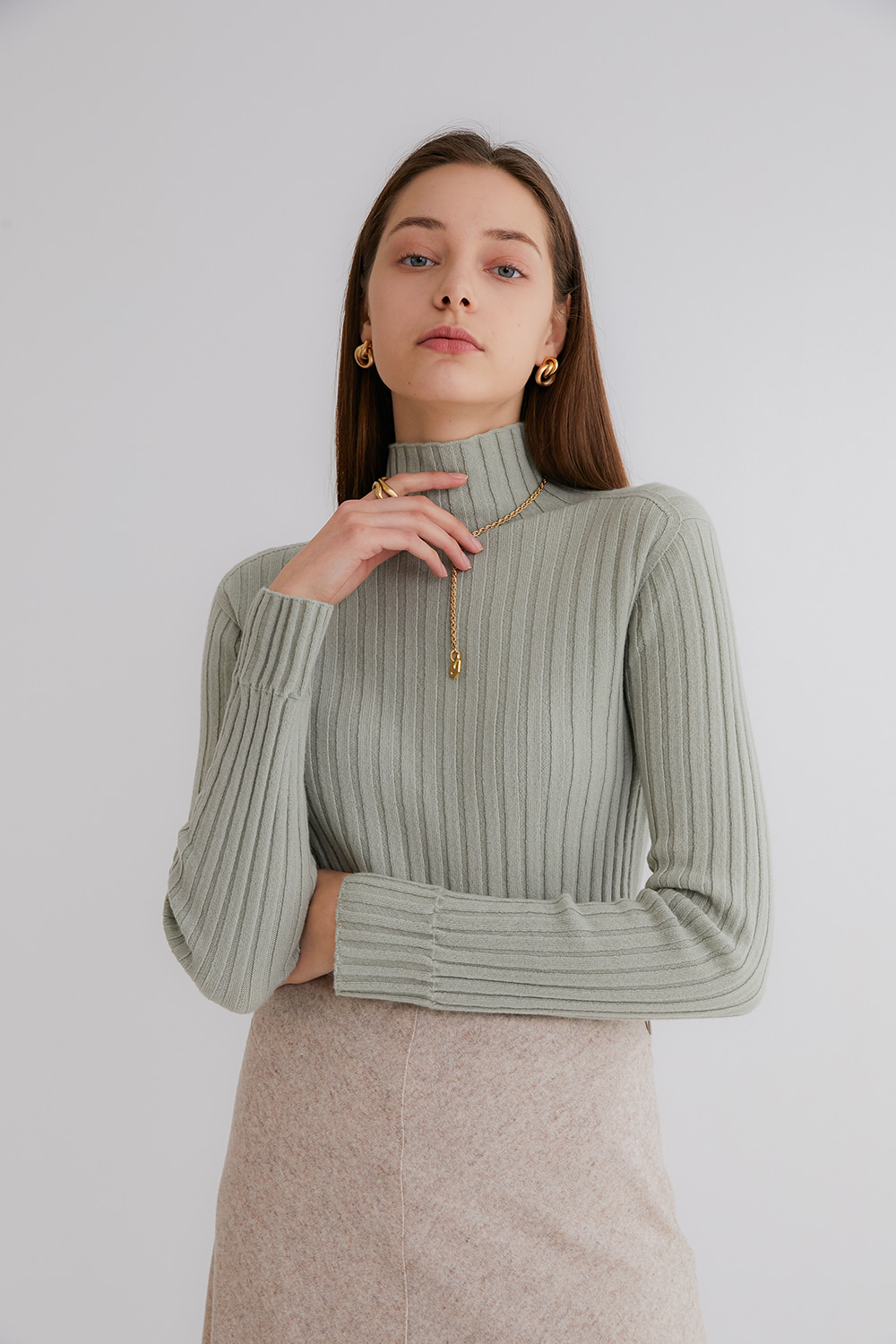 프리미엄 캐시미어 100 골지 스웨터 [Pure cashmere100 ribbed soft-touch sweater by whole-garment knitting - SAGE MINT]