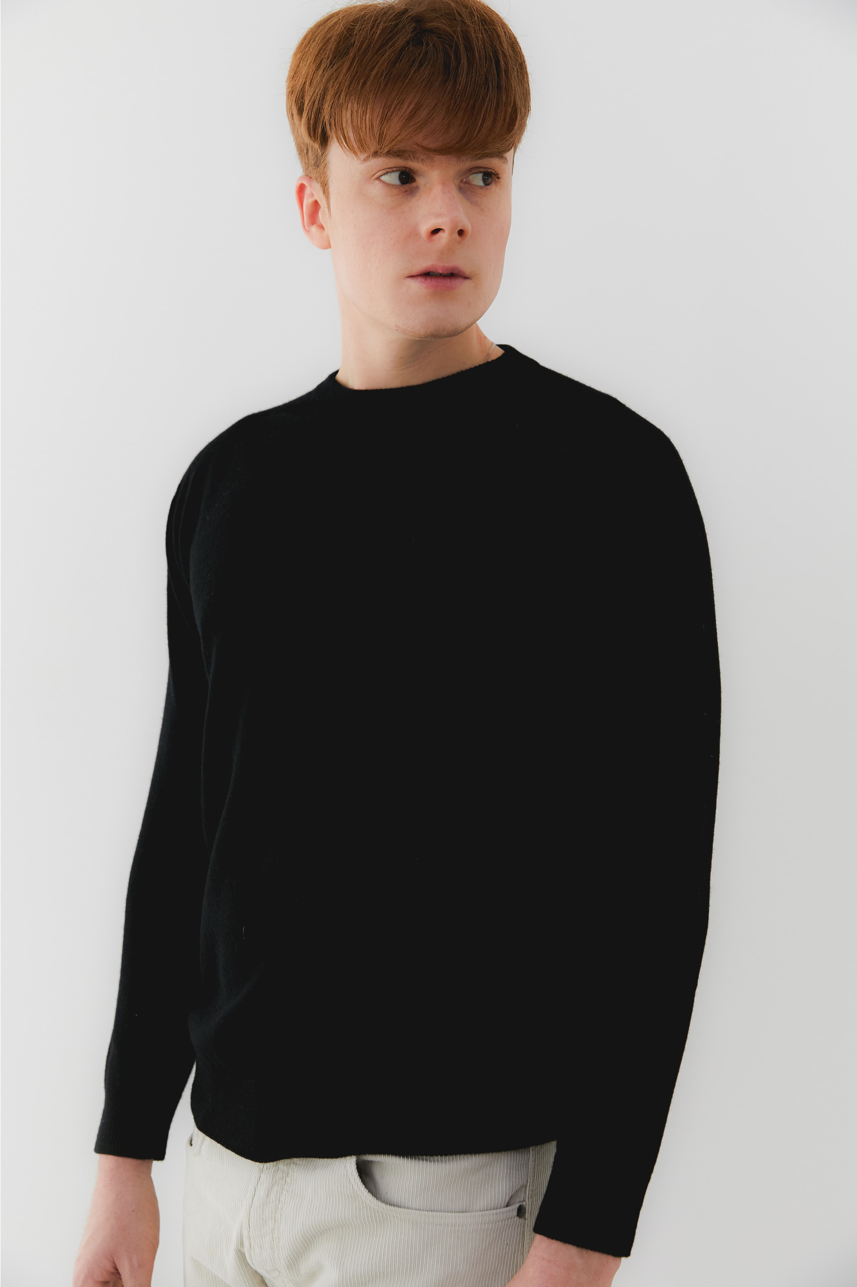 프리미엄 캐시미어 100 남성 라운드넥 스웨터 [Pure cashmere100 whole-garment knitting roundneck pullover - Black]